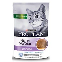 PRO PLAN CAT STERILISED 7+ NUTRISAVOUR WITH TURKEY 85GR